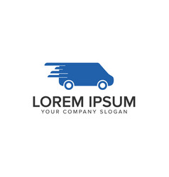 Fast shipping delivery truck logo design concept vector