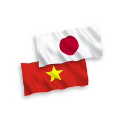 Flags japan and vietnam on a white background vector
