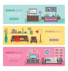 Flat Furniture Banner Set vector image