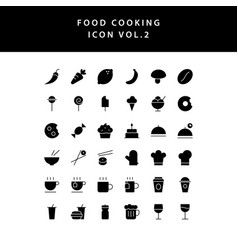 food cooking icon set glyph style set vol 2 vector image
