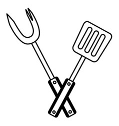fork and spatula utensils vector image