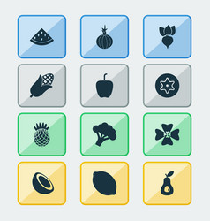 fruit icons set with dad pineapple palm fruit vector image