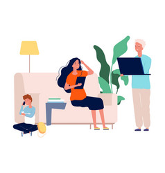 gadget addiction family with laptop tablet and vector image