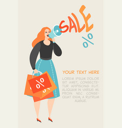girl talking by megaphone about big sale vector image