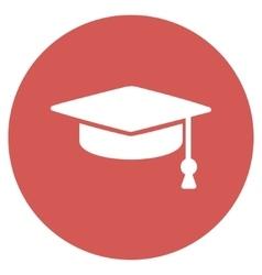 Graduation Cap Flat Round Icon vector