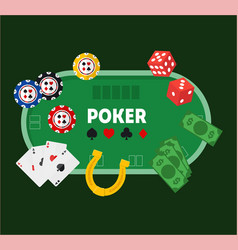 Green poker table vector