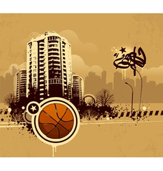 Grunge urban basketball background vector image