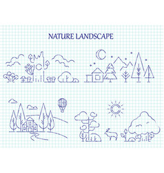 Hand drawn nature landscape line set vector
