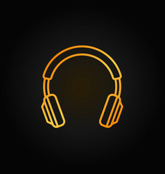 headphones golden line icon headphone sign vector image