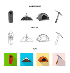 Isolated object of mountaineering and peak symbol vector
