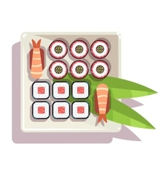 Japanese sushi over a plate vector