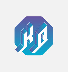 Kq - monogram or logotype volume alphabet vector