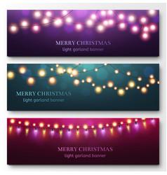 light garland banners glowing light bulbs on vector image