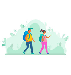 man and woman with backpacks walking green leaves vector image