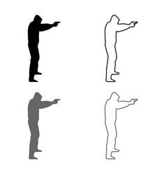 Man in hood with gun concept danger vector