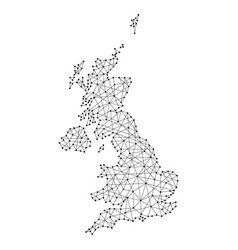 Map of united kingdom from polygonal black lines vector