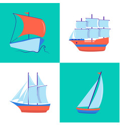 Marine collection of sailing ship icons in flat vector