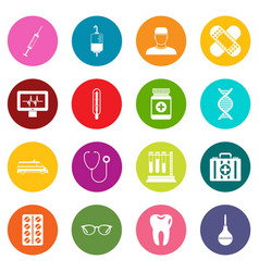 medicine icons many colors set vector image