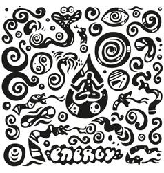 meditationenergy - doodles set vector image