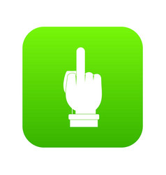 Middle finger hand sign icon digital green vector