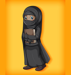 Muslim girl holding book vector