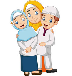 muslim mother with son and daughter vector image
