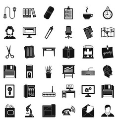 Office facilities icons set simple style vector