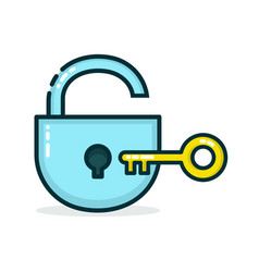 padlock and golden key modern vector image