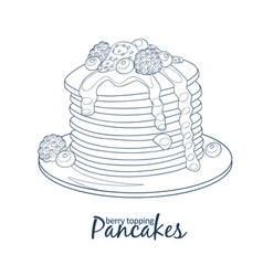 Pancakes with berries and honey icon hand drawn vector