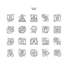 pirate sites thin line icons vector image