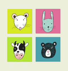 Poster with hand drawn funny animal face vector
