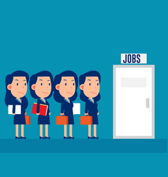 Professional people group queuing for jobs vector