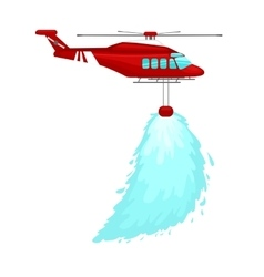 red emergency propeller helicopter in the air with vector image