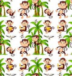 Seamless monkeys and coconut trees vector