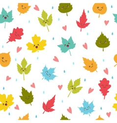 Seamless pattern with autumn leaves Cute vector image