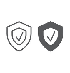 Security status line and glyph icon safety vector