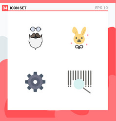 Set 4 flat icons on grid for moustache general vector