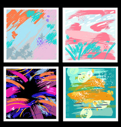 set backgrounds from brush strokes vector image