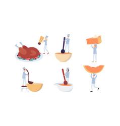set tiny chefs preparing autumn meals flat vector image