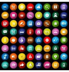 Shopping flat colored icons set vector image