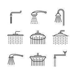 Shower head type icons set outline style vector
