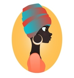 silhouette african girl in profile vector image