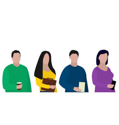 team business young people with phones and vector image