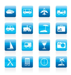 tourism and holiday icons vector image