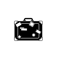 travel bag icon suitcase icon black on white vector image