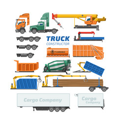 Truck constructor delivery vehicle or cargo vector