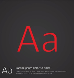 Typography outline symbol red on dark background vector
