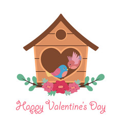 valentines day greeting with two cute lovebirds vector image