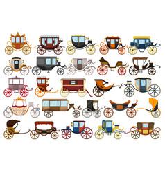 Vintage carriage cartoon set icon vector