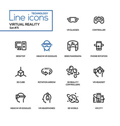 virtual reality - line design icons set vector image